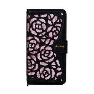 iPhone XR ケース La Roseraie PU手帳型ケース ブラック/ピンク iPhone XR