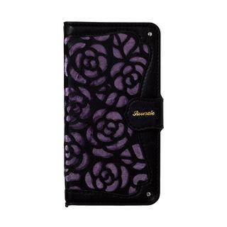 iPhone XR ケース La Roseraie PU手帳型ケース ブラック/パープル iPhone XR