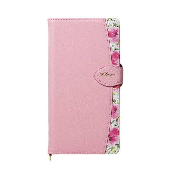 iPhone XR ケース Fleur ボタニカル柄PU手帳型ケース ピンク iPhone XR_0