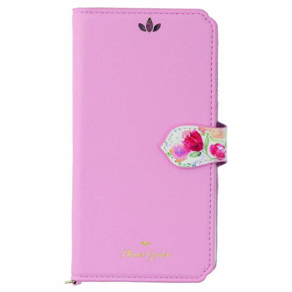 iPhone XS/X ケース Flower Garden PUレザー手帳型ケース  ピンク iPhone XS/X_0