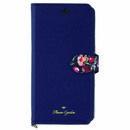 Flower Garden PUレザー手帳型ケース  ネイビー iPhone XR