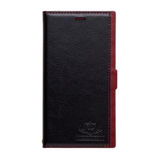 FLAMINGO PUレザー手帳型ケース  ブラック/レッド iPhone XR