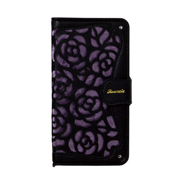 iPhone XR ケース La Roseraie PU手帳型ケース ブラック/パープル iPhone XR_0