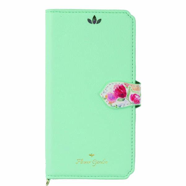 【iPhone XS/Xケース】Flower Garden PUレザー手帳型ケース  ミント iPhone XS/X_0
