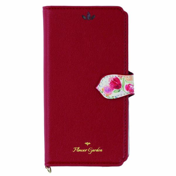 iPhone XS/X ケース Flower Garden PUレザー手帳型ケース  レッド iPhone XS/X_0
