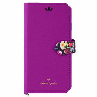 iPhone XS/X ケース Flower Garden PUレザー手帳型ケース  マゼンタ iPhone XS/X