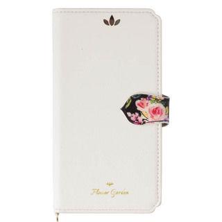 iPhone XR ケース Flower Garden PUレザー手帳型ケース  ホワイト iPhone XR