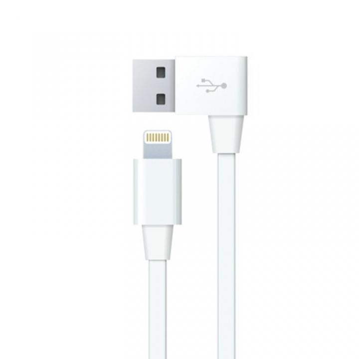 充電+同期仕様30cm Lightning L字USBフラットケーブル_0