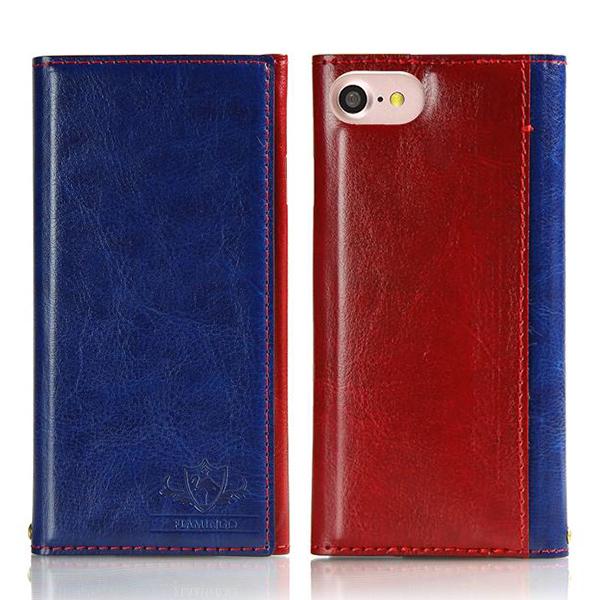 iPhone8/7 ケース FLAMINGO PUレザー手帳型ケース ブルー iPhone 8/7_0
