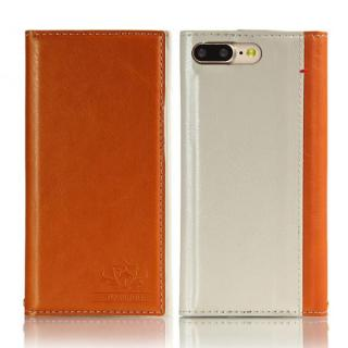 iPhone8 Plus/7 Plus ケース FLAMINGO PUレザー手帳型ケース オレンジ iPhone7 Plus