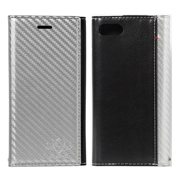 iPhone8/7 ケース FLAMINGO Carbon PUレザー手帳型ケース シルバー/ブラック iPhone 8/7_0