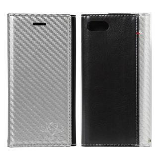 iPhone8/7 ケース FLAMINGO Carbon PUレザー手帳型ケース シルバー/ブラック iPhone 8/7