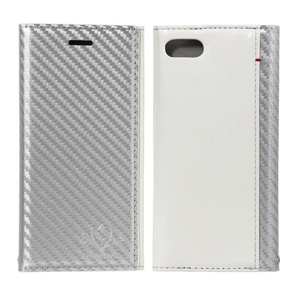 FLAMINGO Carbon PUレザー手帳型ケース シルバー/ホワイト iPhone 8/7