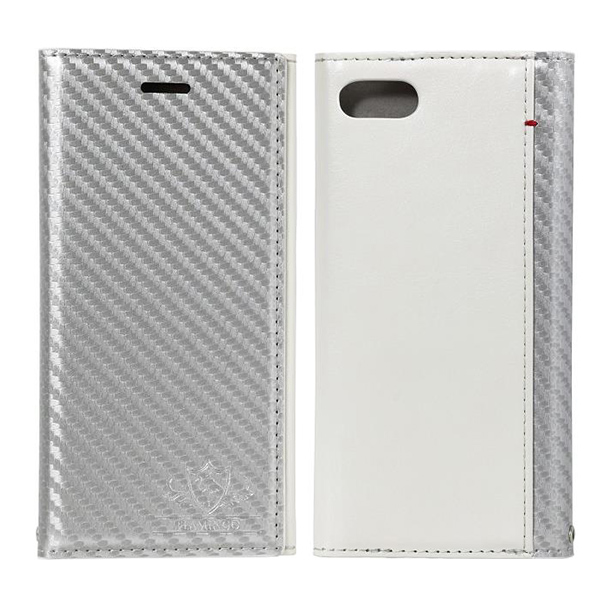 【iPhone8/7ケース】FLAMINGO Carbon PUレザー手帳型ケース シルバー/ホワイト iPhone 8/7_0