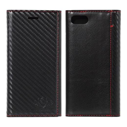 iPhone8/7 ケース FLAMINGO Carbon PUレザー手帳型ケース ブラック/ブラック iPhone 8/7_0