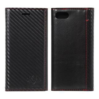 FLAMINGO Carbon PUレザー手帳型ケース ブラック/ブラック iPhone 8/7