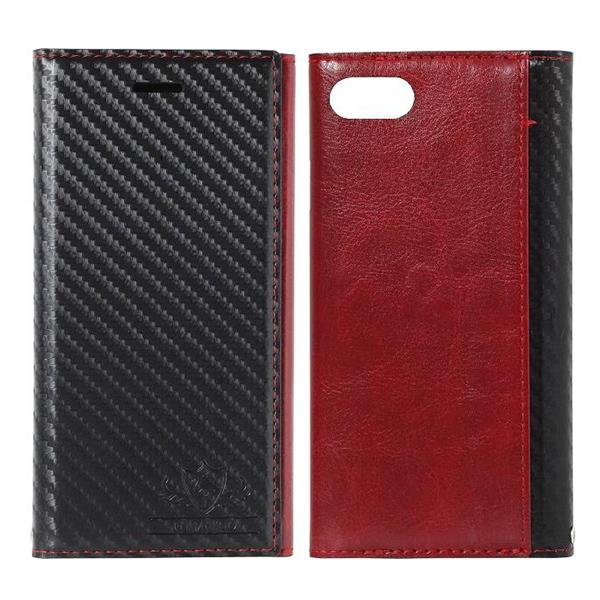 iPhone8/7 ケース FLAMINGO Carbon PUレザー手帳型ケース ブラック/レッド iPhone 8/7_0