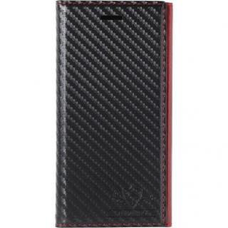 【iPhone8/7ケース】FLAMINGO Carbon PUレザー手帳型ケース ブラック/レッド iPhone 8/7_1