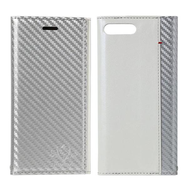 FLAMINGO Carbon PUレザー手帳型ケース シルバー/ホワイト iPhone 7 Plus