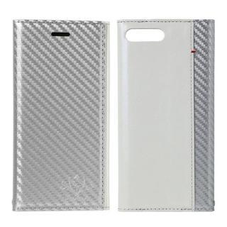FLAMINGO Carbon PUレザー手帳型ケース シルバー/ホワイト iPhone 8 Plus/7 Plus