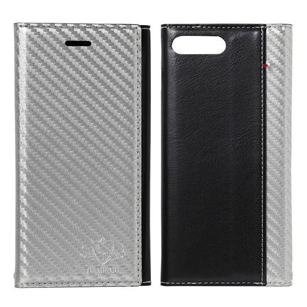 iPhone8 Plus/7 Plus ケース FLAMINGO Carbon PUレザー手帳型ケース シルバー/ブラック iPhone 8 Plus/7 Plus_0