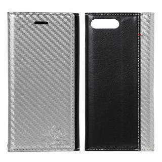 FLAMINGO Carbon PUレザー手帳型ケース シルバー/ブラック iPhone 8 Plus/7 Plus