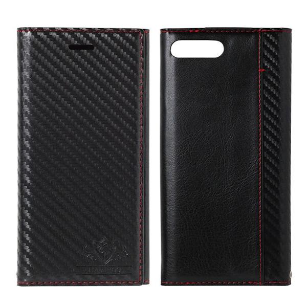 【iPhone8 Plus/7 Plusケース】FLAMINGO Carbon PUレザー手帳型ケース ブラック/ブラック iPhone 8 Plus/7 Plus_0