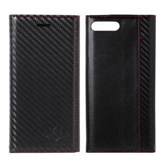 iPhone8 Plus/7 Plus ケース FLAMINGO Carbon PUレザー手帳型ケース ブラック/ブラック iPhone 8 Plus/7 Plus