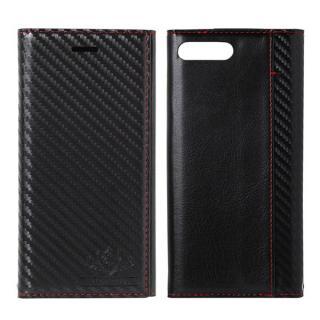 FLAMINGO Carbon PUレザー手帳型ケース ブラック/ブラック iPhone 8 Plus/7 Plus