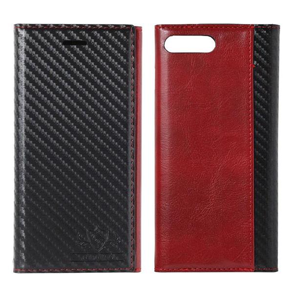iPhone8 Plus/7 Plus ケース FLAMINGO Carbon PUレザー手帳型ケース ブラック/レッド iPhone 8 Plus/7 Plus_0