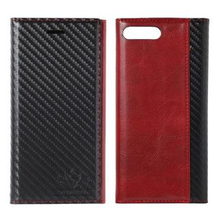 FLAMINGO Carbon PUレザー手帳型ケース ブラック/レッド iPhone 8 Plus/7 Plus