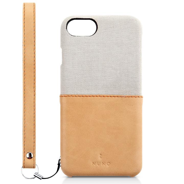 NUNO ファブリックケース 2トーンデザイン グレー×ヌメ iPhone 7