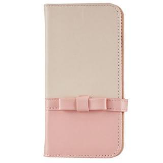 ミラー付き リボンデザイン手帳型ケース ライトピンク×ライトベージュ iPhone 7
