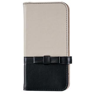 ミラー付き リボンデザイン手帳型ケース ブラック×アイボリー iPhone 7