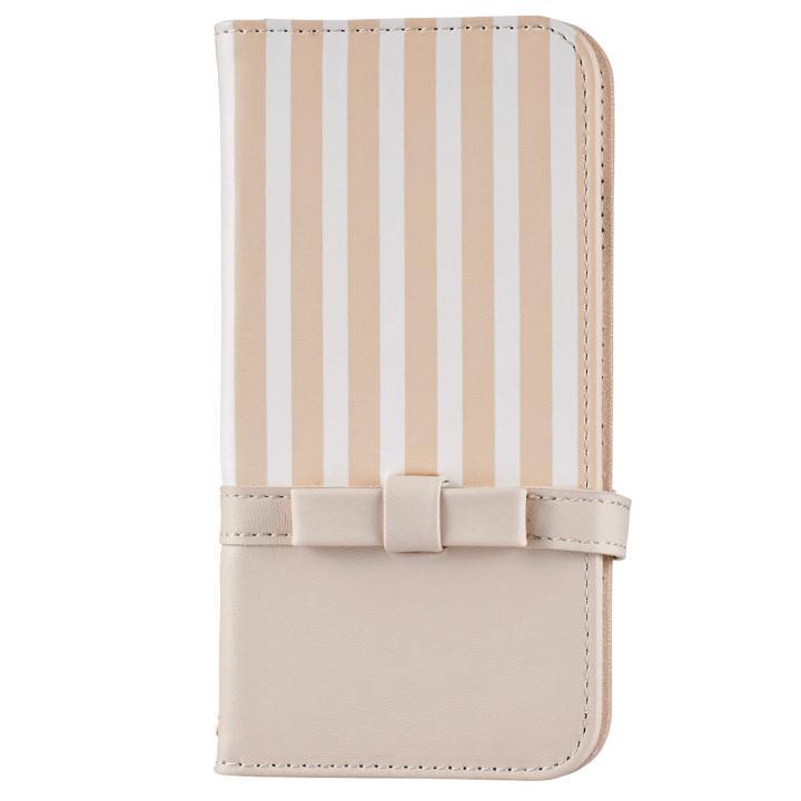 ミラー付き リボンデザイン手帳型ケース ベージュ×ストライプ iPhone 7