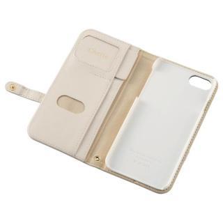 【iPhone7ケース】ミラー付き リボンデザイン手帳型ケース ベージュ×ストライプ iPhone 7_1