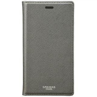 GRAMAS COLORS サフィアーノ調PUレザー手帳型ケース EURO Passione ガンメタル iPhone XS/X