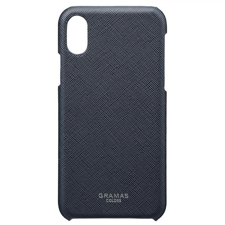 iPhone XS/X ケース GRAMAS COLORS サフィアーノ調PUレザーケース EURO Passione ネイビー iPhone XS/X_0