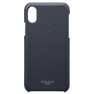 iPhone XS/X ケース GRAMAS COLORS サフィアーノ調PUレザーケース EURO Passione ネイビー iPhone XS/X