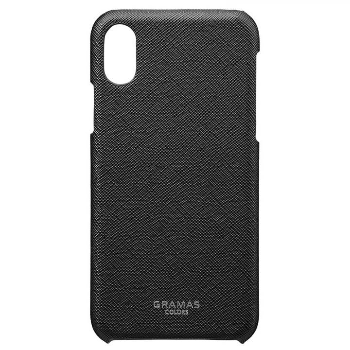 【iPhone XS/Xケース】GRAMAS COLORS サフィアーノ調PUレザーケース EURO Passione ブラック iPhone XS/X_0