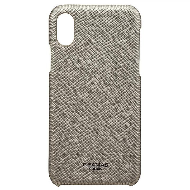 iPhone XS/X ケース GRAMAS COLORS サフィアーノ調PUレザーケース EURO Passione シルバー iPhone XS/X_0