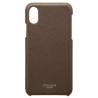 iPhone XS/X ケース GRAMAS COLORS サフィアーノ調PUレザーケース EURO Passione ブラウン iPhone XS/X