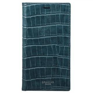 GRAMAS COLORS クロコ型押しPUレザー手帳型ケース EURO Passione Croco ネイビー iPhone X