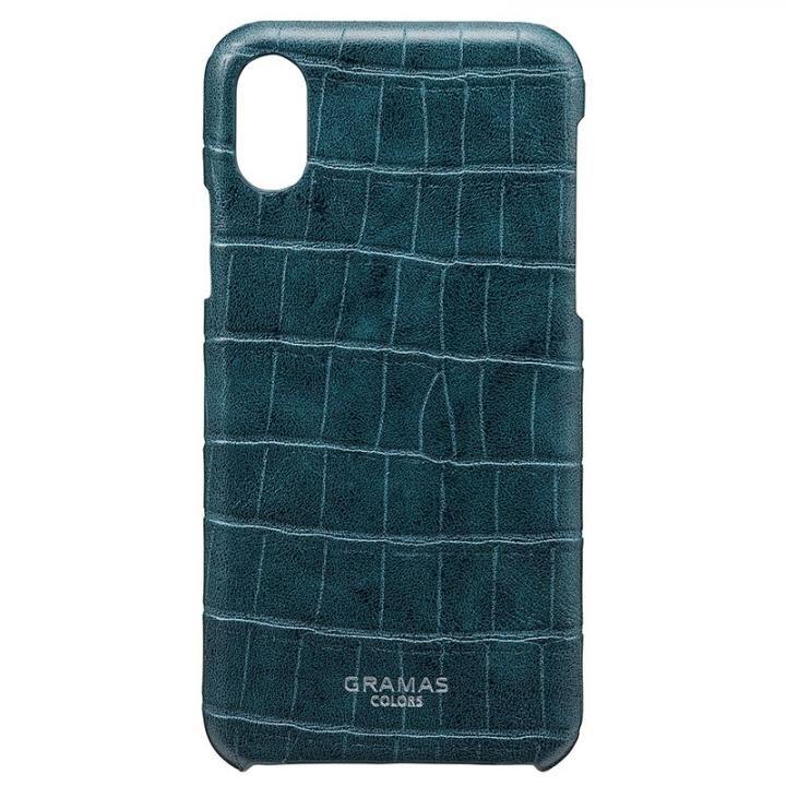 【iPhone XS/Xケース】GRAMAS COLORS クロコ型押しPUレザーケース EURO Passione Croco ネイビー iPhone XS/X_0