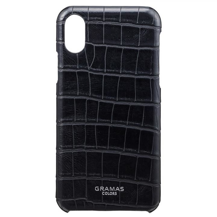 iPhone XS/X ケース GRAMAS COLORS クロコ型押しPUレザーケース EURO Passione Croco ブラック iPhone XS/X_0