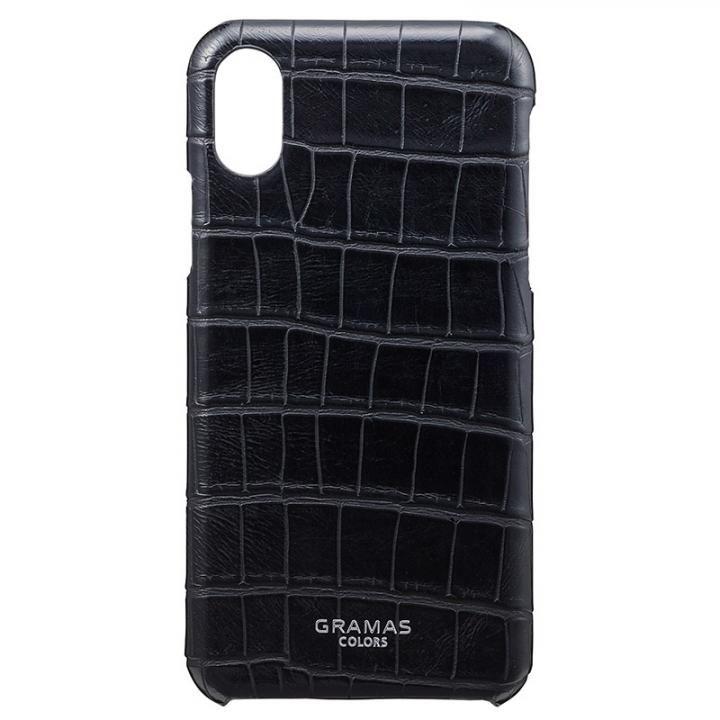【iPhone XS/Xケース】GRAMAS COLORS クロコ型押しPUレザーケース EURO Passione Croco ブラック iPhone XS/X_0