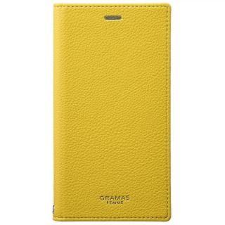 GRAMAS FEMME シュリンク調PUレザー手帳型ケース Colo イエロー iPhone XS/X