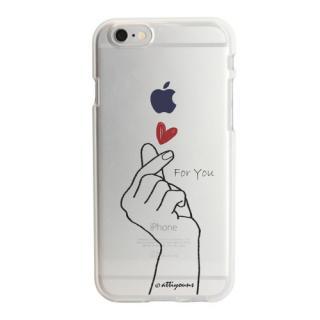 アップルマークデザイン TPUクリアケース  指ハート iPhone 6s
