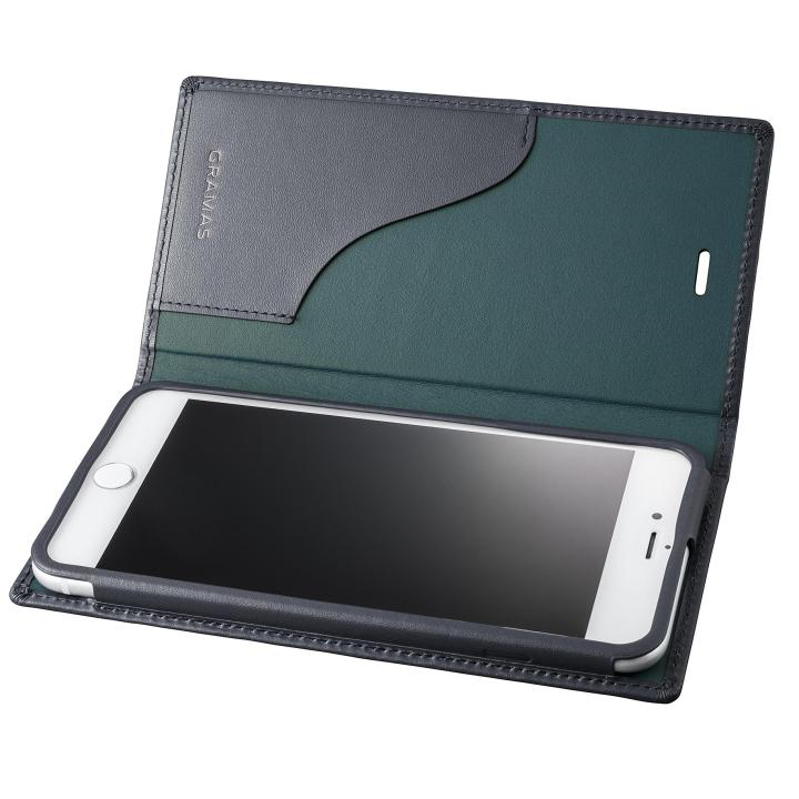 GRAMAS フルレザー手帳型ケース ネイビー