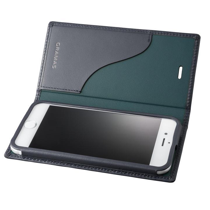 【iPhone8/7ケース】GRAMAS フルレザー手帳型ケース  ネイビー iPhone 8/7_0